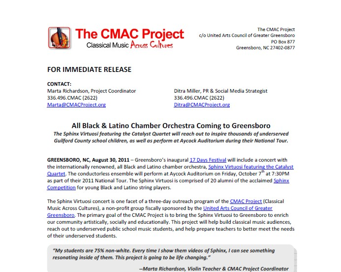 Press Release for the CMAC Project