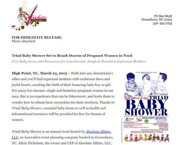 Press Release – 2nd Annual Triad Baby Shower