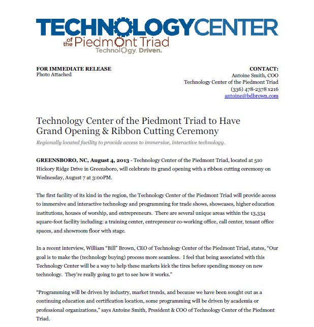 Grand Opening Press Release for Technology Center of the Piedmont Triad