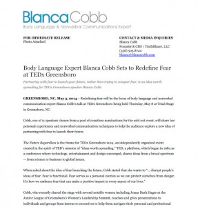 News release body language expert blanca cobb sets to for Press release template for event