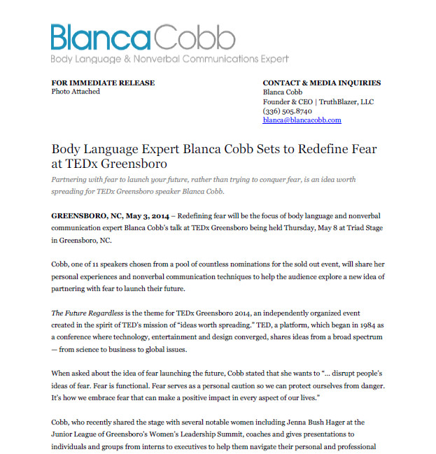 News Release – Body Language Expert Blanca Cobb Sets to Redefine Fear at TEDx Greensboro