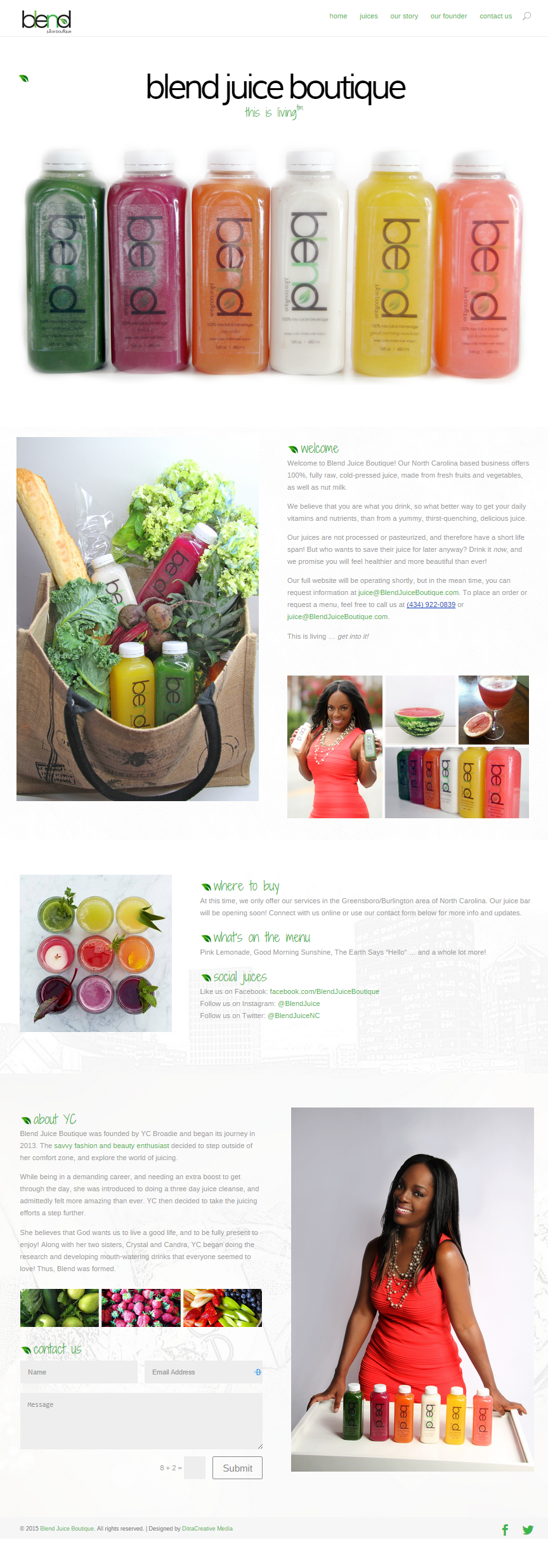 Blend Juice Boutique Website