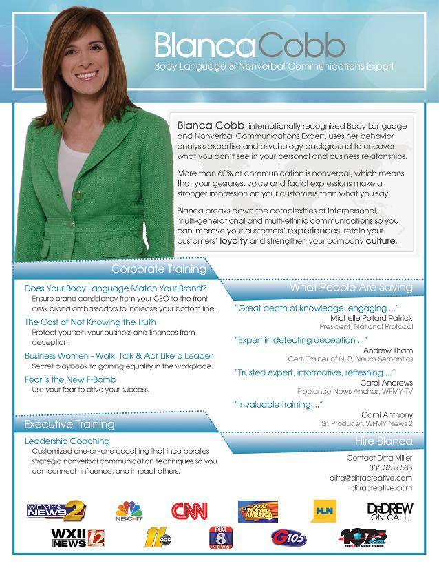 Blanca Cobb - Body Language & Nonverbal Communications Expert - Keynote Speaker, Author, Media Guest, Coach